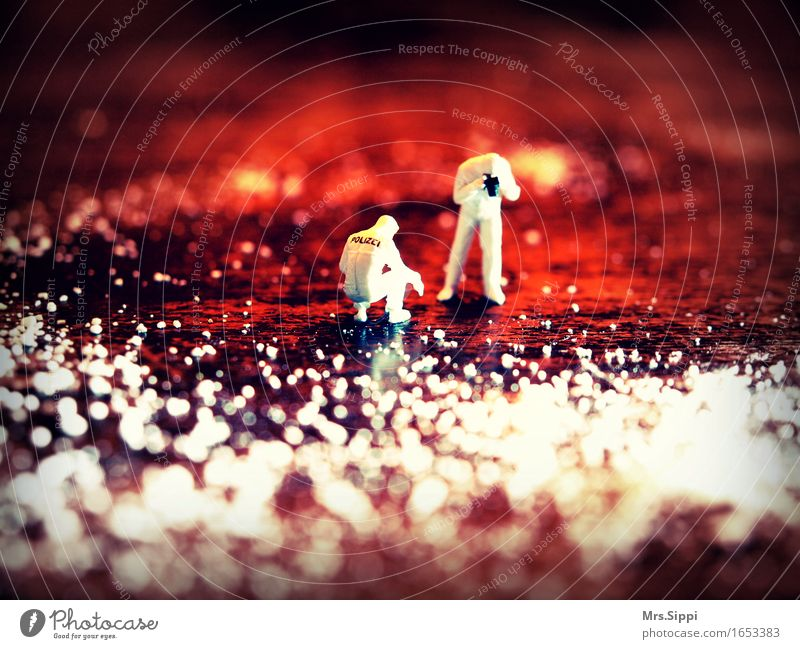 crime scene Camera Human being 2 Art Observe Magnifying glass Miniature Model railroad h0 Abstract Discover Red Colour photo Interior shot Close-up Detail