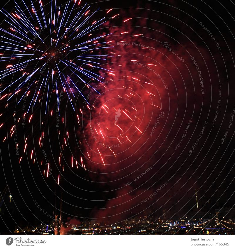 Feasts & Celebrations Birthday Hamburg New Year's Eve Smoke Firecracker Visual spectacle Elbe Explosion Jubilee Bursting Night shot Port of Hamburg Explode Snap