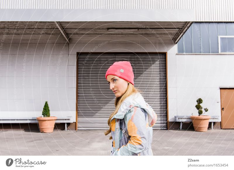 STRW Lifestyle Elegant Style Town Industrial plant Architecture Fashion Jacket Cap Blonde Long-haired Smiling Hip & trendy Beautiful Modern Rebellious