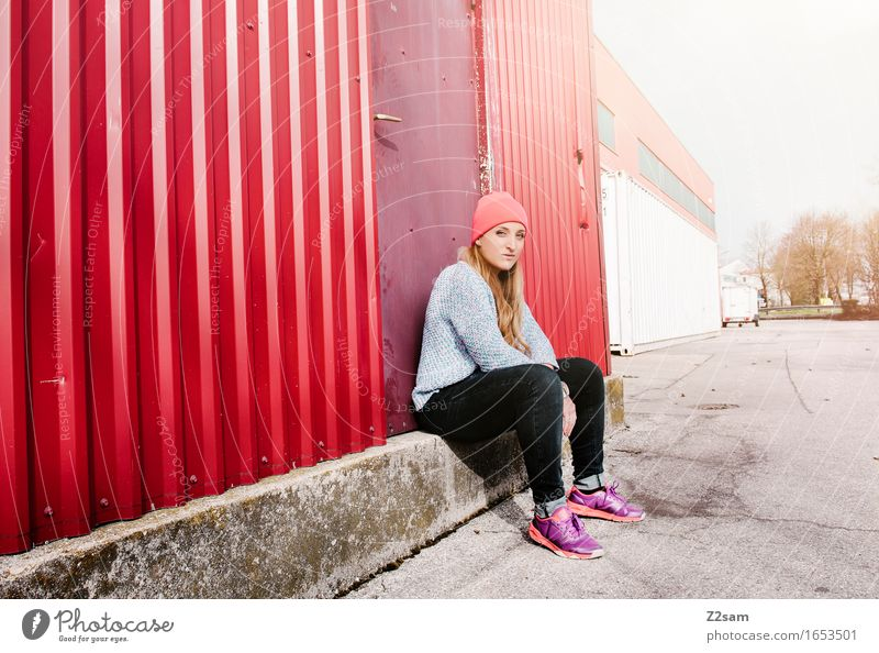 Youth (Young adults) City Colour Young woman Loneliness Calm 18 - 30 years Adults Sadness Feminine Lifestyle Style Think Fashion Elegant Blonde