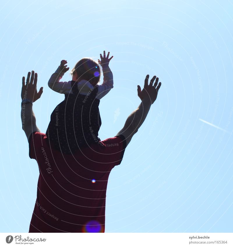 adoration Freedom Sun Toddler Girl Man Adults Father Back Arm Hand Shoulder Sky Sit Carrying Dream Happiness Infinity Blue Joy Happy Joie de vivre (Vitality)