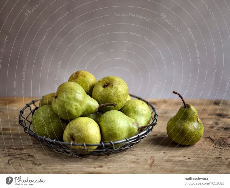 Still life with pears Food Fruit Dessert Organic produce Vegetarian diet Diet Fasting Bowl Style Wood Metal Fragrance Fresh Healthy Delicious Natural Retro