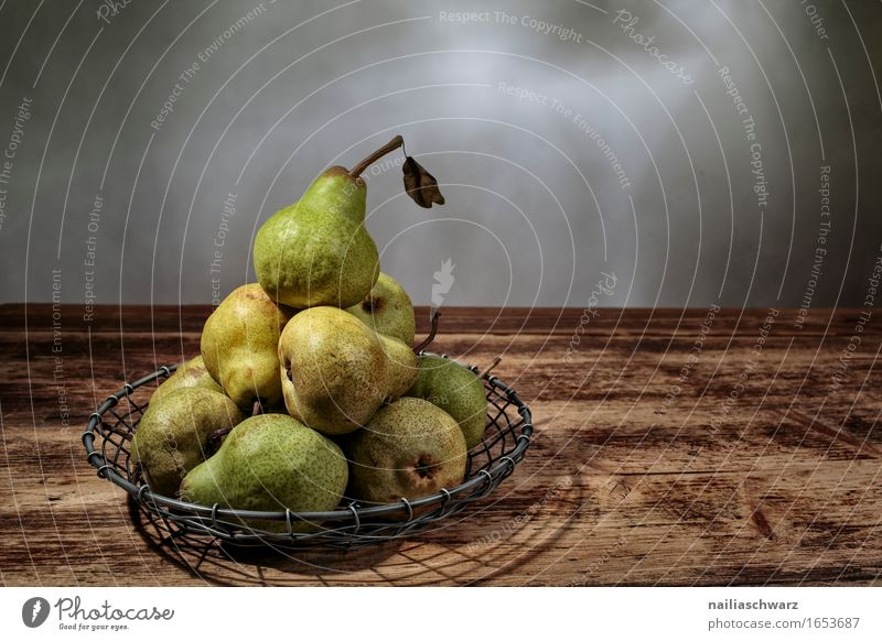 Still life with pears Food Fruit Nutrition Organic produce Vegetarian diet Style Esthetic Delicious Retro Brown Green Still Life Pear Colour photo