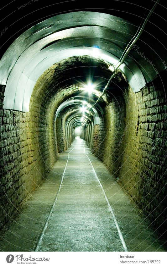 Green Loneliness Street Lamp Dark The Ruhr Lanes & trails Bochum Infinity Long Railroad tracks Tunnel Brick Doomed Mining Sewer