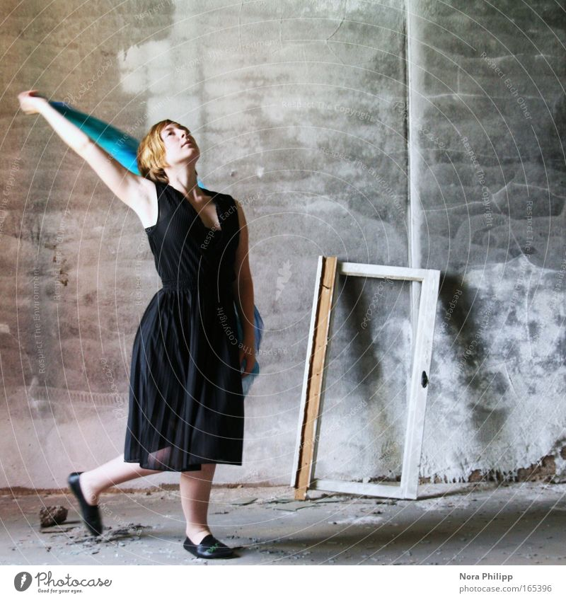 Dance yourself Colour photo Subdued colour Interior shot Copy Space right Day Central perspective Full-length Upward Elegant Harmonious Human being Feminine