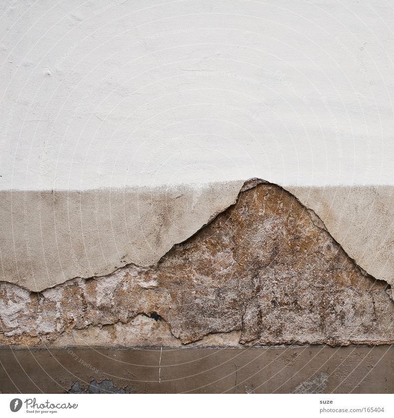 Kilimanjaro Mountain Peak Volcano Wall (barrier) Wall (building) Facade Stone Old Dirty Broken Brown Gray White Decline Transience Time Destruction Plaster