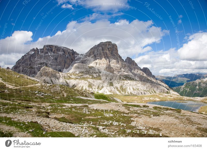 Nature Sky Green Summer Joy Clouds Mountain Lake Landscape Hiking Large Rock Earth Europe Italy Alps