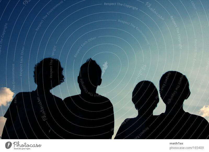 Human being Sky Youth (Young adults) Summer Clouds Head Moody Friendship Masculine Peace Group of children Beautiful weather Shadow Silhouette