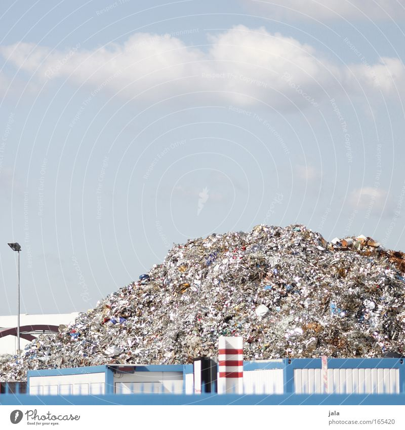 Sky White Blue Red Mountain Metal Environment Trash Environmental protection Industrial plant Workplace Environmental pollution Recycling Modernization