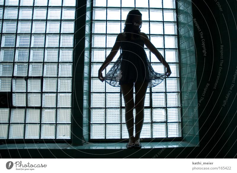 silhouette Subdued colour Abstract Silhouette Back-light Young woman Youth (Young adults) Skirt Emotions Truth Grief consolation Sadness Day