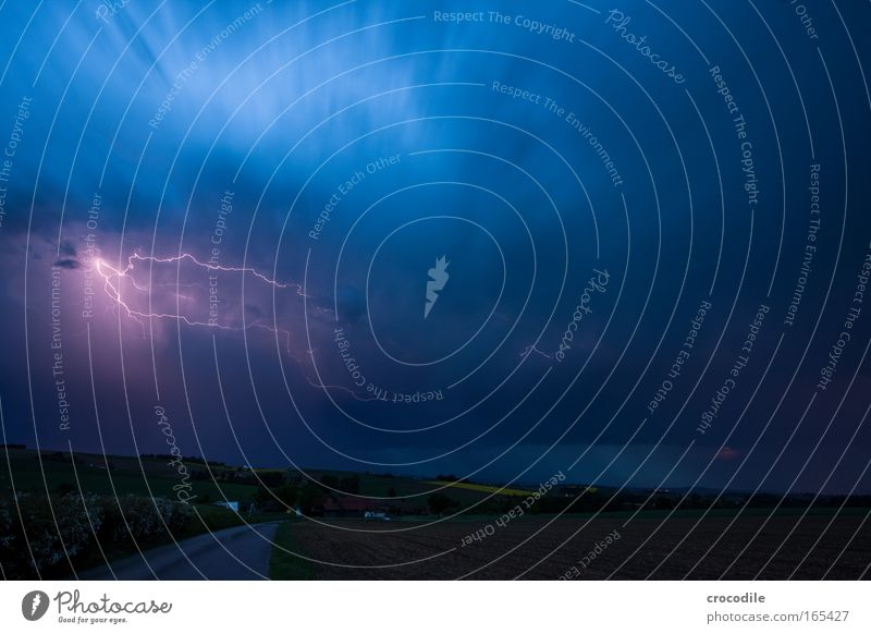 thunderstorms Colour photo Exterior shot Deserted Copy Space right Copy Space top Twilight Night Light Shadow Contrast Long exposure Motion blur