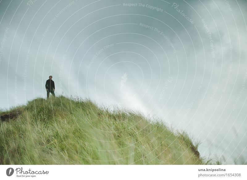 John on the hill Man Adults 1 Human being Nature Landscape Elements Clouds Bad weather Grass Hill Coast Dune Scotland Observe Stand Serene Calm Respect