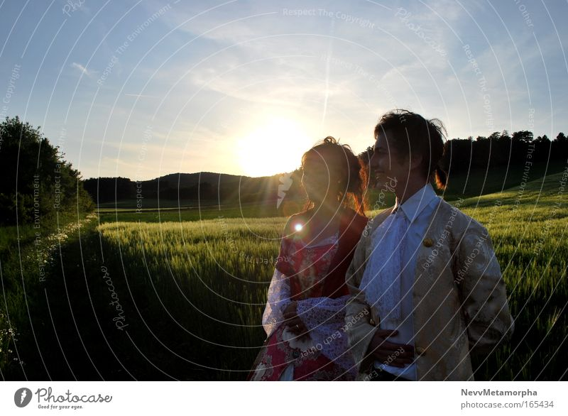 Human being Nature Youth (Young adults) Summer Feminine Meadow Landscape Warmth Fashion Field Gold Large Masculine Happiness Exceptional Illuminate