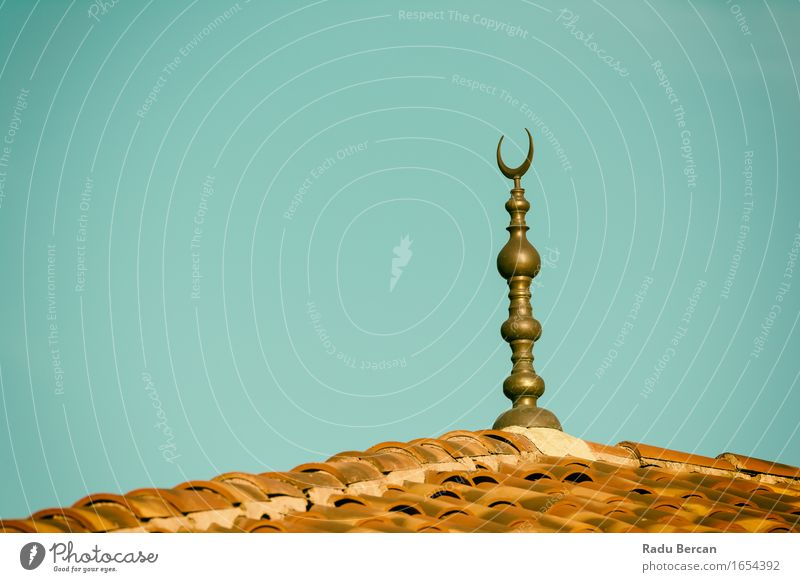 Islamic Religion Crescent Moon Sign On Mosque Architecture Church Dome Manmade structures Building Roof Blue Brown Gray Black Turquoise Peace Hope