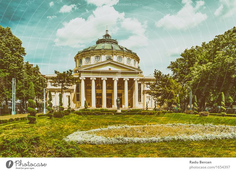 The Romanian Athenaeum George Enescu (Ateneul Roman) City trip Summer Architecture Theatre Opera house Europe Town Downtown Manmade structures Building Facade