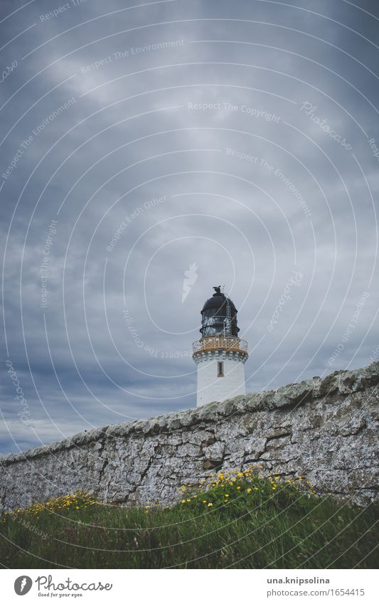 Nature Old Clouds Wild Tower Lighthouse Maritime Scotland Bad weather Great Britain