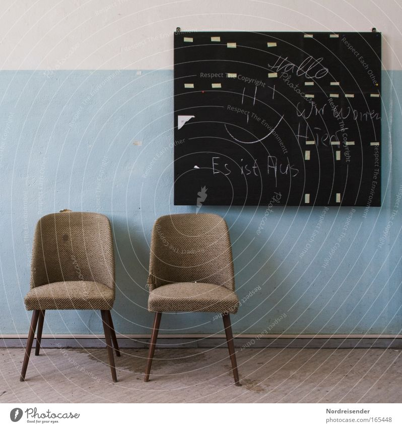 Old chairs and blackboard in one room as still life Lifestyle Design Interior design Furniture Armchair Chair Room Blackboard Industrial plant Wall (barrier)