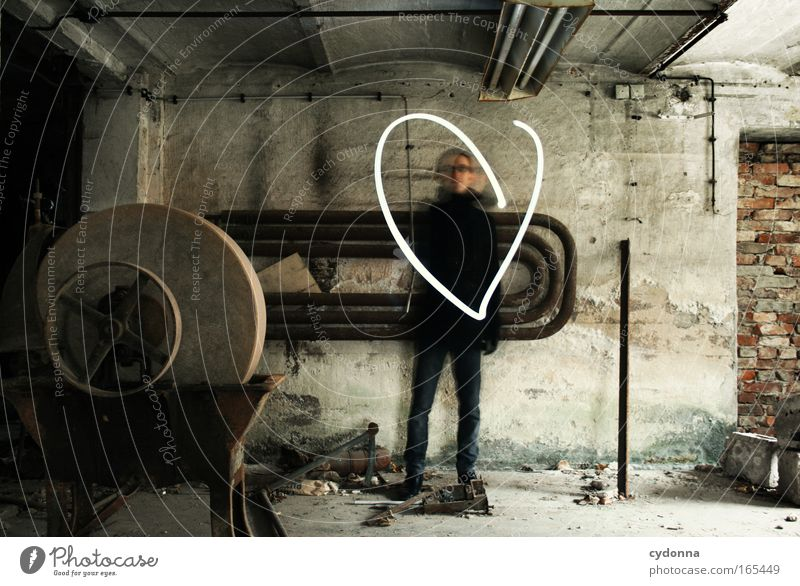 Show love Colour photo Interior shot Copy Space left Day Shadow Contrast Long exposure Central perspective Full-length Looking into the camera Tool Human being