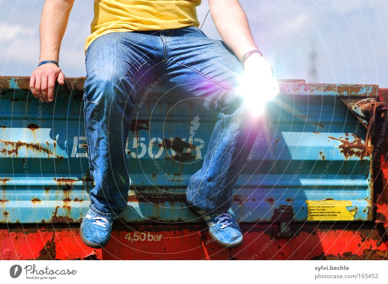 Man Hand Youth (Young adults) Sun Blue Red Summer Yellow Life Relaxation Freedom Feet Legs Bright Glittering Adults