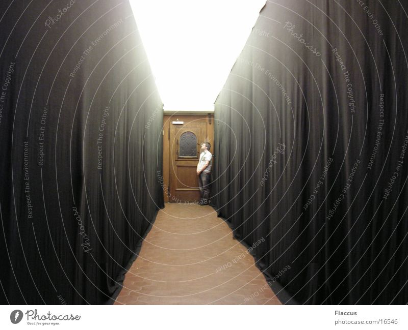 Human being Man Loneliness Door Long Drape Hallway
