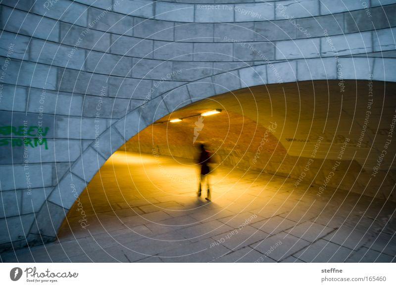 GREEN STORM Subdued colour Exterior shot Twilight Silhouette Blur Motion blur Human being 1 Bridge Tunnel Underpass Pedestrian underpass Fear Dark Mysterious
