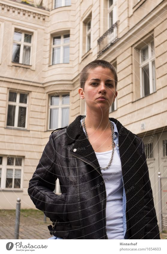 Human being Woman Vacation & Travel Youth (Young adults) City Summer 18 - 30 years Adults Architecture Wall (building) Background picture Berlin Style Lifestyle Building Wall (barrier)