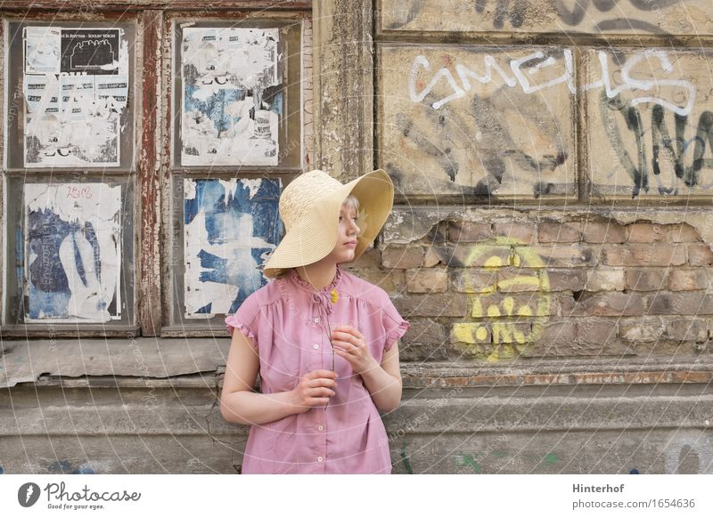 Human being Woman Youth (Young adults) Old Town Young woman Flower Window 18 - 30 years Adults Wall (building) Life Feminine Building Wall (barrier) Art