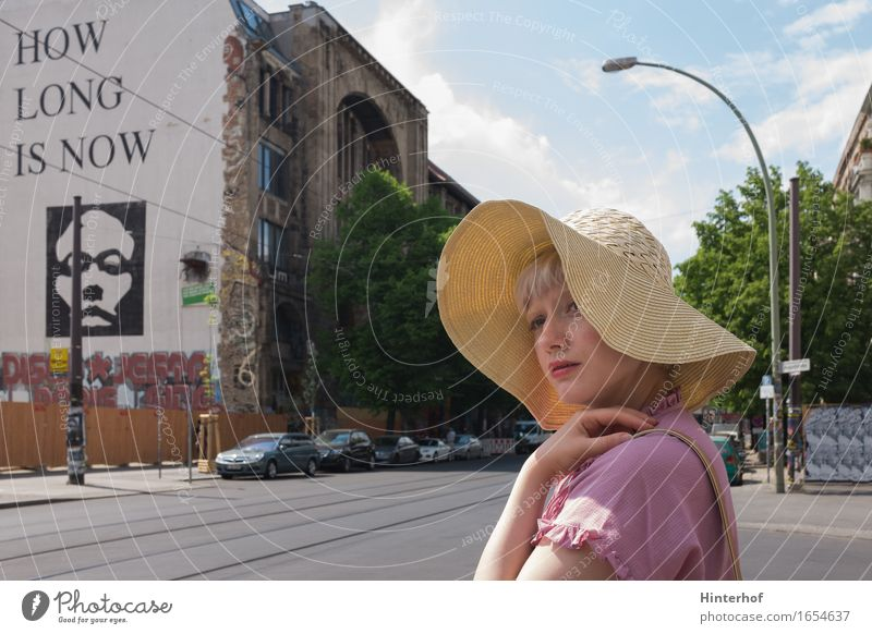 Human being Youth (Young adults) City Summer Young woman 18 - 30 years Adults Street Architecture Wall (building) Feminine Berlin Style Lifestyle Building