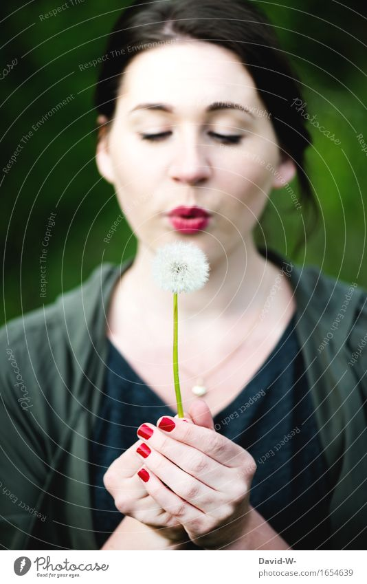dandelion Harmonious Well-being Contentment Senses Leisure and hobbies Human being Feminine Young woman Youth (Young adults) Woman Adults Life 1 Art Environment