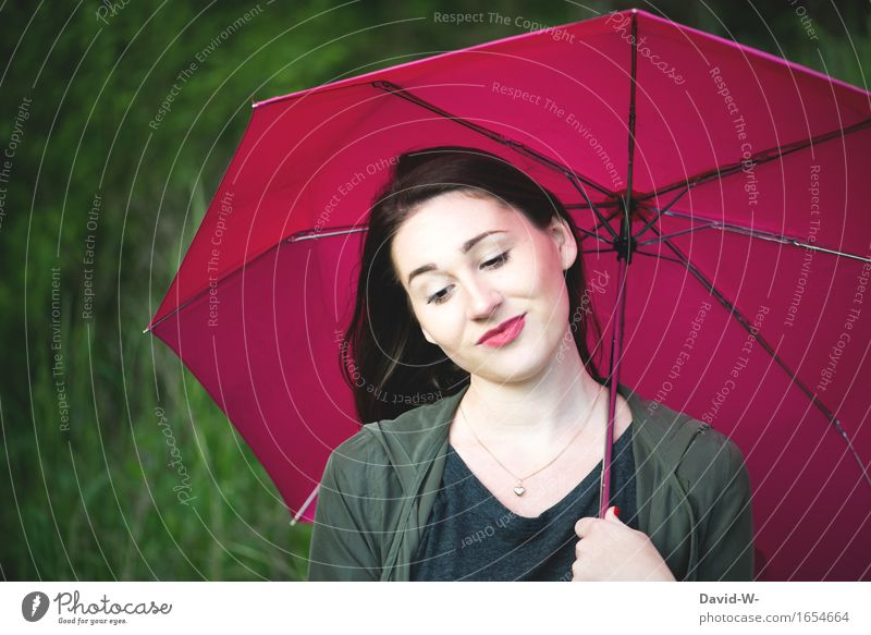 Young woman with red umbrella red nails and red lipstick Umbrella Red redder Lipstick Nail polish pretty Attractive good-looking Picturesque Work of art Nature
