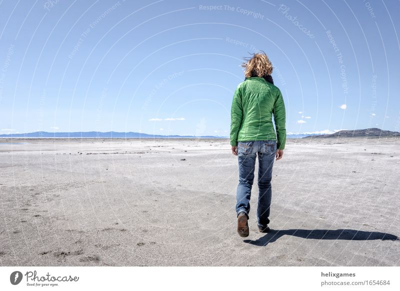 Walk on the shore Human being Woman Nature Vacation & Travel Youth (Young adults) Relaxation Joy Beach 18 - 30 years Mountain Adults Feminine Freedom Dream Contentment Hiking