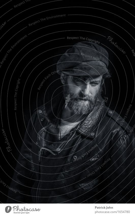 Biker with beard Masculine Homosexual Man Adults 30 - 45 years Artist Rockabilly Band Musician Leather Threat Cool (slang) Dark Authentic Sharp-edged Rebellious