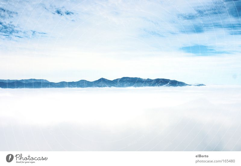 Sky Nature White Blue Clouds Loneliness Far-off places Freedom Mountain Landscape Environment Horizon Trip Fog Hiking Large