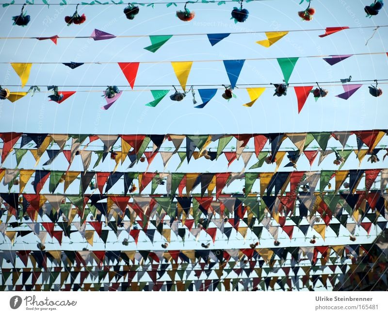 Many colorful pennants and bouquets as decoration in the streets of Pula Vacation & Travel Feasts & Celebrations Culture Event Street Decoration hang To swing