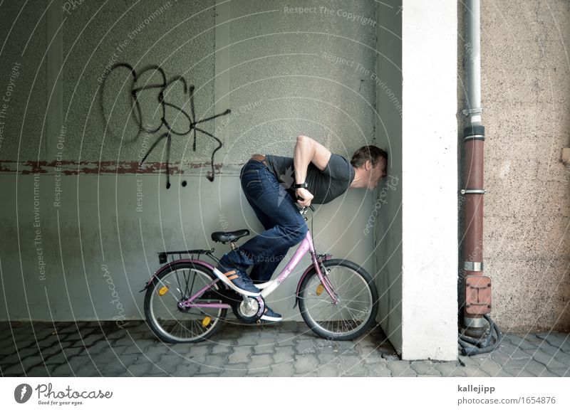with his head through the ... Bicycle Human being Masculine Man Adults Life Body 1 T-shirt Jeans Footwear Sneakers Sports Kiddy bike Accident Traffic accident