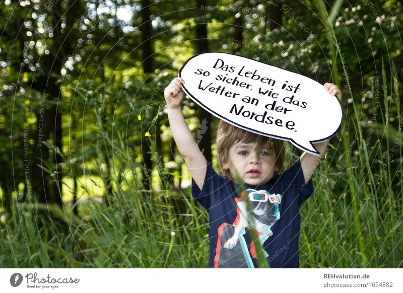 Life is so safe ... Human being Masculine Child Toddler Boy (child) 1 1 - 3 years Environment Nature Summer Tree Grass Forest Green Cool (slang) Acceptance