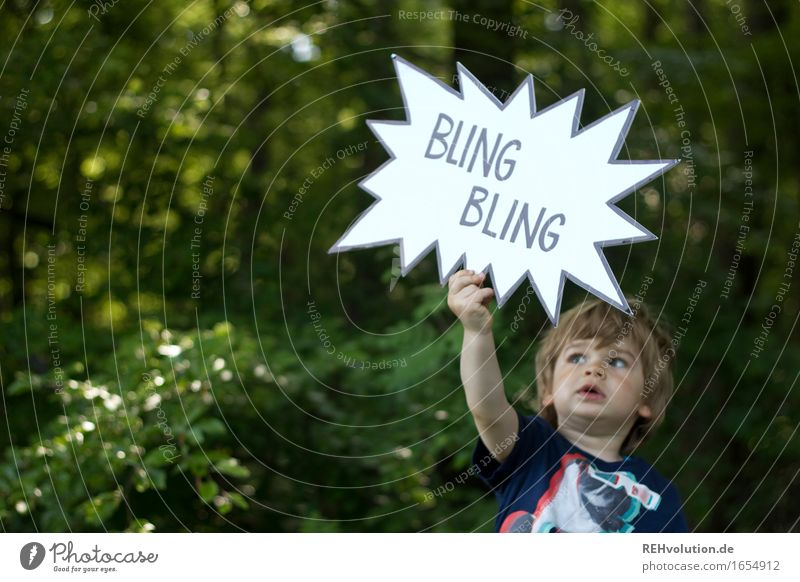 500  Child holds up speech bubble Human being Masculine Toddler Boy (child) 1 1 - 3 years Environment Nature Plant Summer Tree Forest Sign Characters Signage