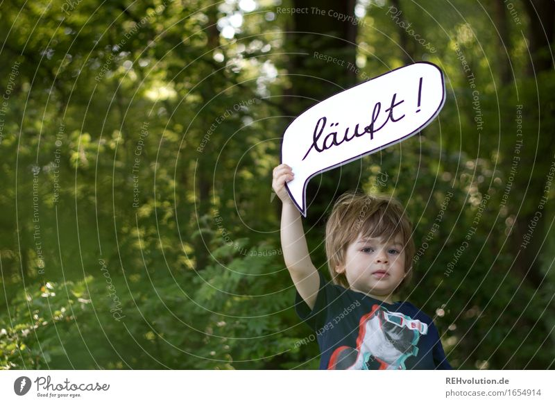 Human being Child Nature Summer Green Forest Environment To talk Natural Boy (child) Small Think Masculine Infancy Communicate Success