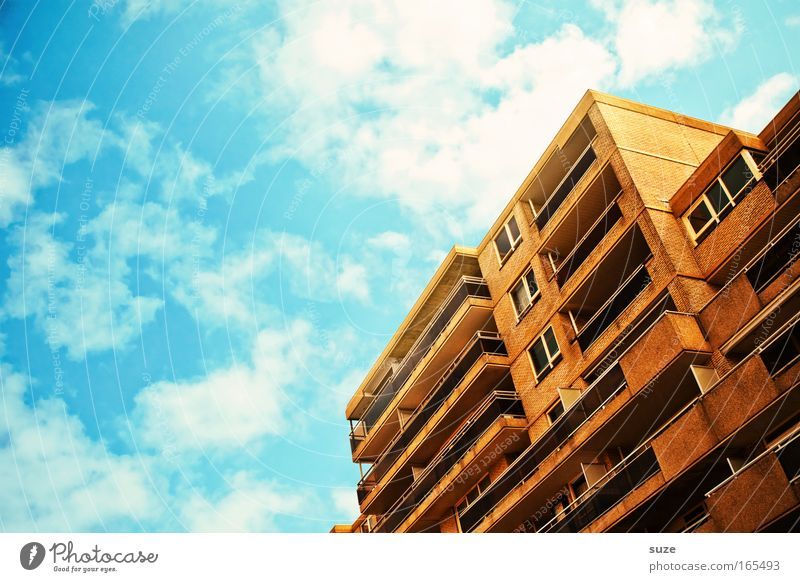 Sky City Summer Clouds House (Residential Structure) Window Stone Building Architecture Concrete Facade Living or residing Balcony Terrace Beautiful weather