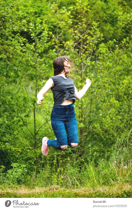 joyful leap Healthy Health care Athletic Life Well-being Contentment Playing Summer Summer vacation Sun Human being Young woman Youth (Young adults) Woman