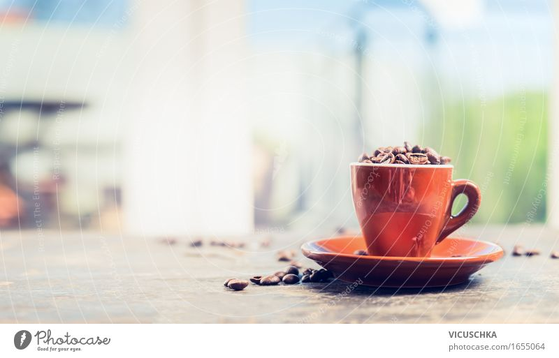 Espresso cup full of coffee beans on the terrace table Breakfast Lunch Beverage Hot drink Coffee Cup Style Design Summer Table Restaurant Nature Sign Retro