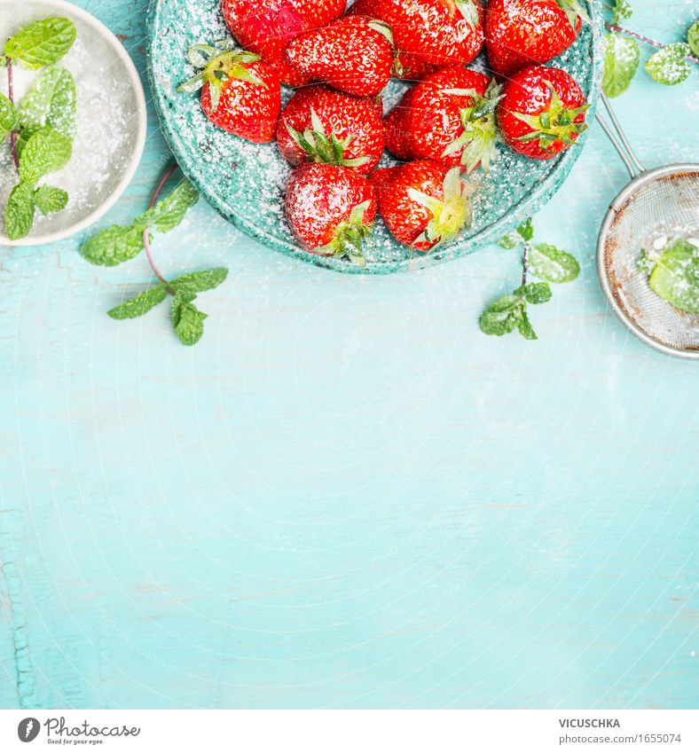 Strawberries with mint and sugar on turquoise background Food Fruit Dessert Nutrition Organic produce Vegetarian diet Crockery Style Design Healthy
