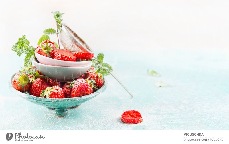 Bowls with fresh strawberries and sieve Food Fruit Dessert Candy Nutrition Breakfast Lunch Organic produce Vegetarian diet Diet Style Design Healthy Eating Life