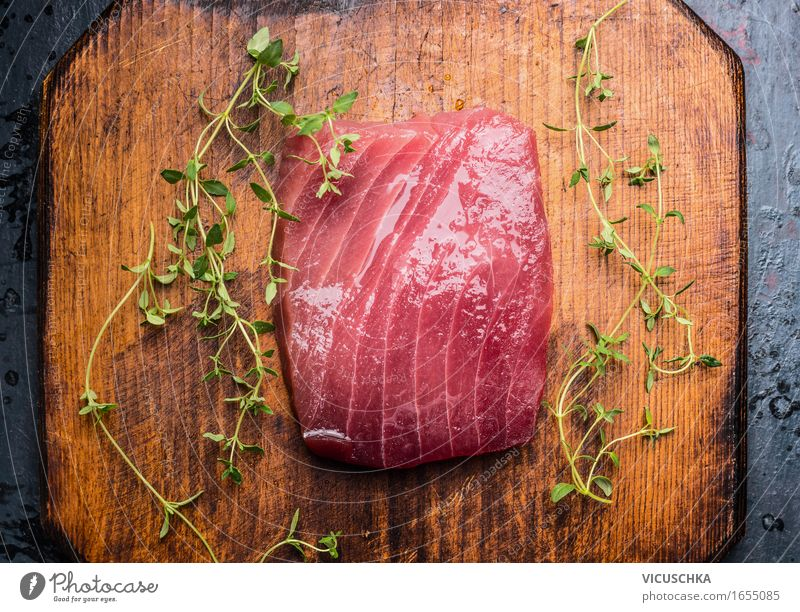 Tuna steak on rustic wood Food Fish Herbs and spices Nutrition Banquet Sushi Style Healthy Eating Kitchen Restaurant Yellow Design Steak Tuna fish Raw Close-up