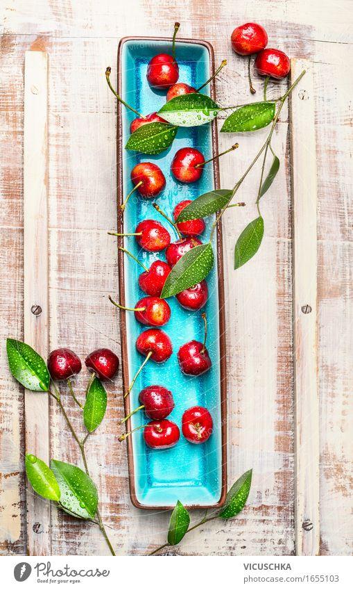 Sweet cherries with green leaves on plate Food Fruit Dessert Nutrition Breakfast Organic produce Vegetarian diet Diet Plate Style Healthy Eating Life Summer