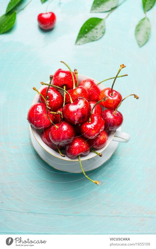Old cup with sweet cherries Food Fruit Dessert Nutrition Breakfast Lunch Picnic Organic produce Vegetarian diet Diet Cup Lifestyle Style Healthy Eating Summer