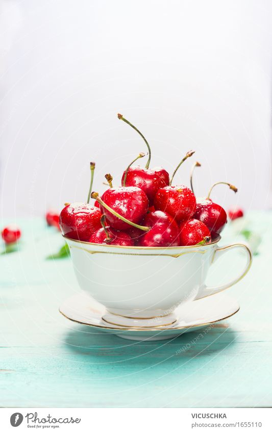 cup with sweet cherries on light background Food Fruit Dessert Nutrition Breakfast Organic produce Vegetarian diet Diet Cup Style Healthy Eating Life Summer