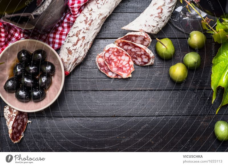 Salami with green and black olives and red wine Food Sausage Vegetable Lunch Buffet Brunch Banquet Italian Food Bowl Style Design Table Antipasti Gourmet Olive