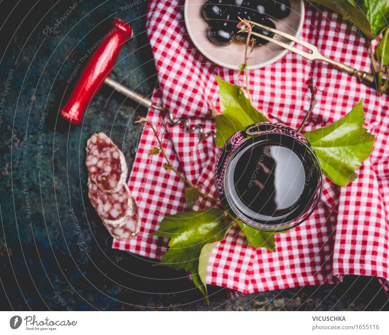 Glass with red wine and snacks Food Sausage Nutrition Lunch Buffet Brunch Business lunch Picnic Italian Food Beverage Wine Lifestyle Style Design