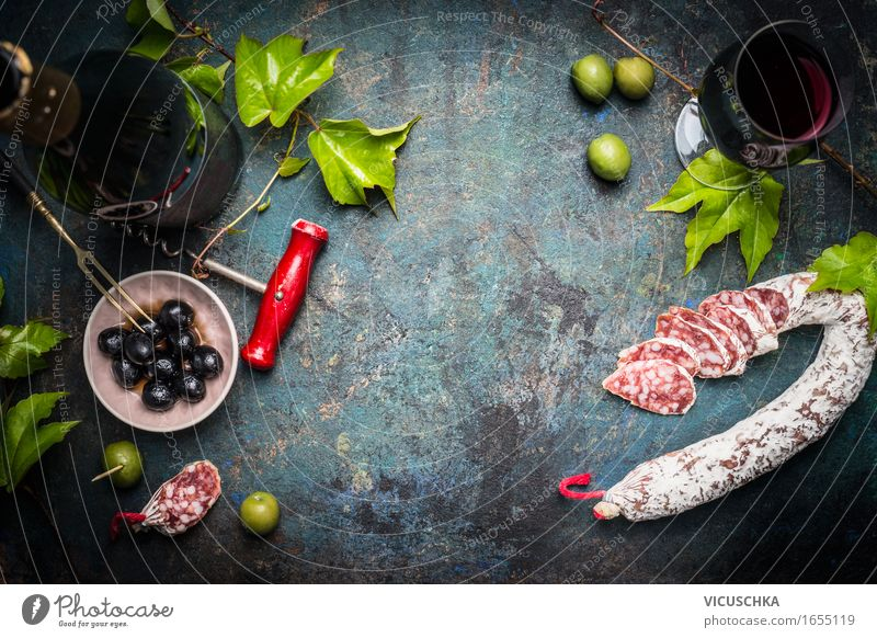 Italian still life with salami, red wine and olives Food Sausage Vegetable Herbs and spices Nutrition Lunch Dinner Buffet Brunch Banquet Italian Food Beverage
